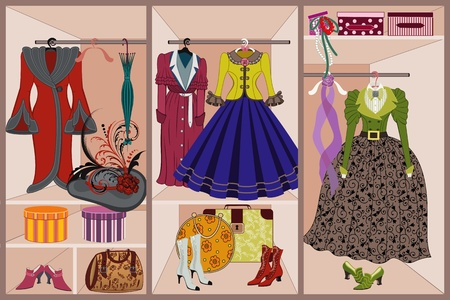 vintage clothing: Wardrobe with vintage clothing Illustration