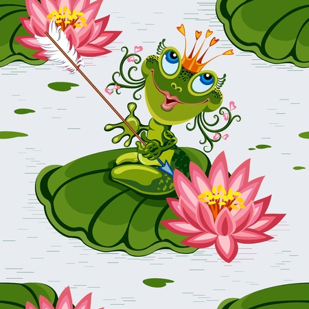 Background with frog prencess Vector