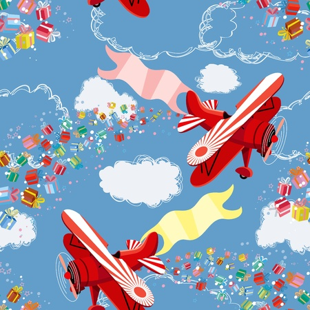 Background with biplane throwing gifts Vector