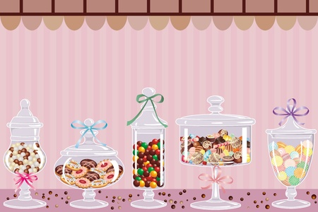 Candy jars with chocolates, candies and dragees Vector