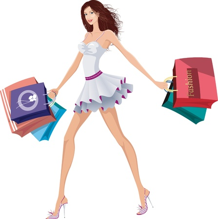 Chic lady with shopping bags Vector