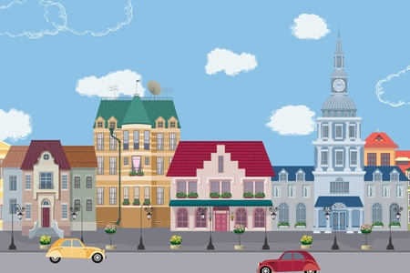 The row of old houses. All buildings are very detailed and separate objects. Stock Vector - 9407980