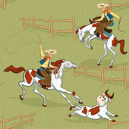 Seamless pattern with cowboys roping a bull and riding a bucking bronco Vector