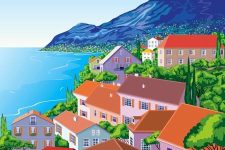paisaje mediterraneo: Vista panor�mica de la ciudad en un litoral Vectores