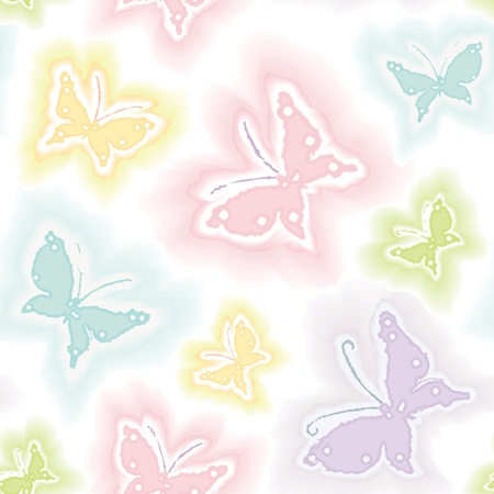 watercolor technique: Background with butterflies in watercolor technique Illustration