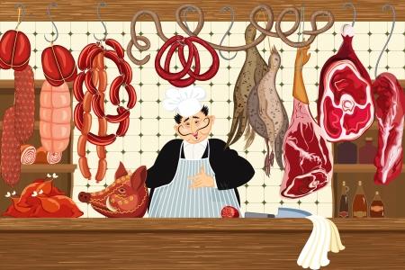 viande couteau: Bouchers shop
