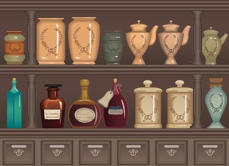 pocion: Vendimia botellas y frascos en el gabinete de farmacia