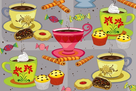 tasty: Set the table for coffee with cakes, pastries and sweets Illustration