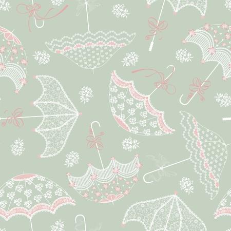 Background with vintage wedding parasols
