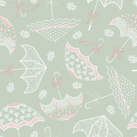 Background with vintage wedding parasols Vector