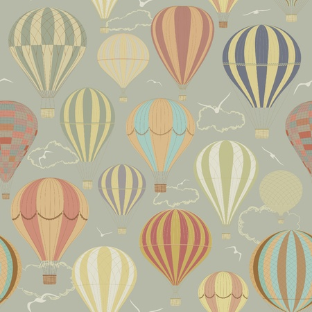 air travel: Seamless pattern con mongolfiere in stile retr�