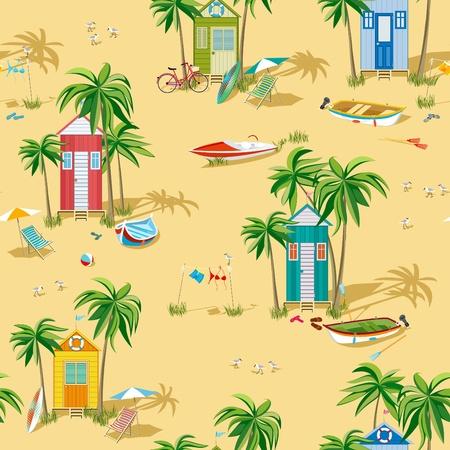 dieren: Achtergrond met strand hutten