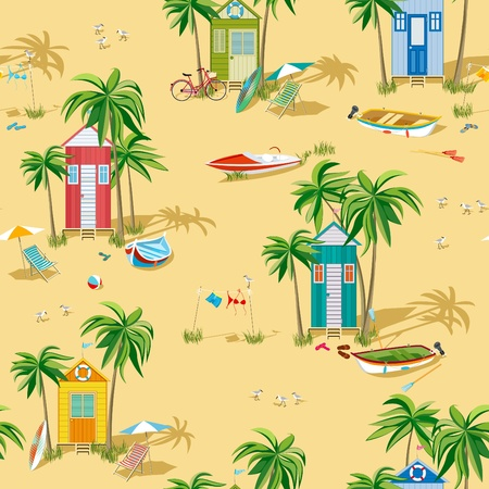 Background with beach huts Vector