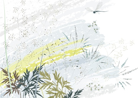 blue spotted: Background with wild herbs and flying dragonfly