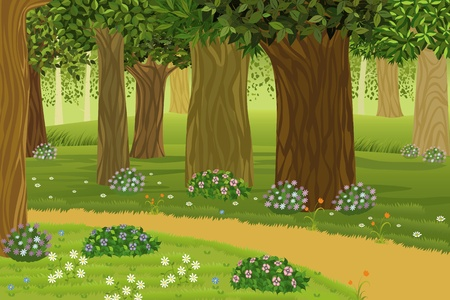 temperate: Trees and flowers in an enchanted forest Illustration