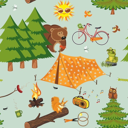 bonfire: Summer camping seamless pattern