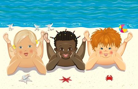 Children relaxing on the beach Stock Vector - 9667495