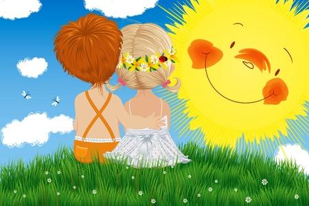 Niños sentados en una pradera bajo el sol