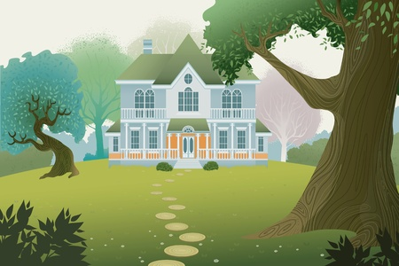Country cottage in a wood Illustration