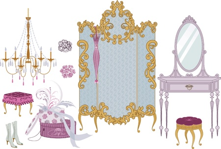 kleedkamer: Decor artikelen van de kleedkamer in Victoriaanse stijl Stock Illustratie