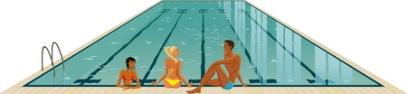 Athletic man and two beautiful girls in bikini relaxing in the swimming pool Vector