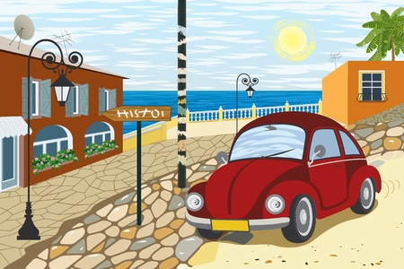 Old car driving on a cobblestone street in a small resort town Vector