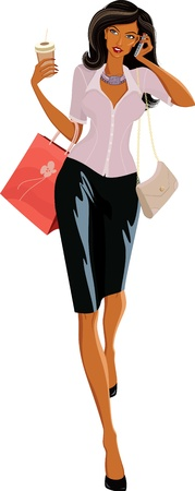 Ilustración vectorial de una hermosa mujer con bolsas de caminar y hablar por teléfono Vectores