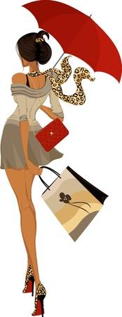 moda urbana: Chica de moda caminando con paraguas Vectores