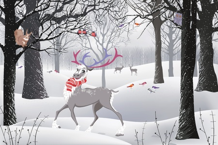 Winter forest in which there are a reindeer, a squirrel sitting on a tree and birds Illustration