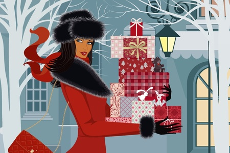 Beautiful woman in red coat with christmas gifts