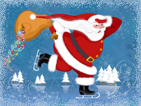 Santa Claus skating with the torn bag from which gifts falling Stock Vector - 10107447