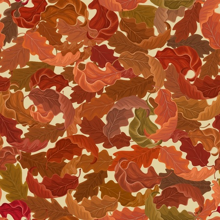 Autumn background with falling oak leaves  Vector