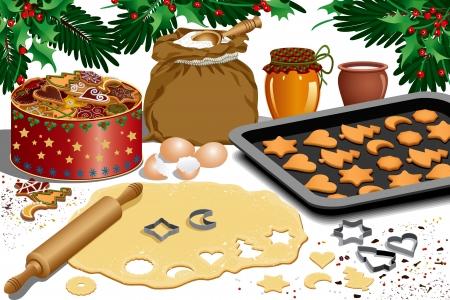 galletas de navidad: Proceso de elaboración de galletas para Navidad - aislados en blanco Vectores
