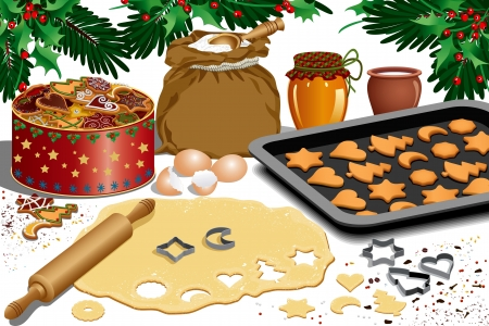 messy kitchen: Process of making cookies for Christmas - isolated over white