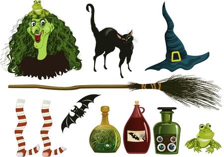 escoba: Conjunto de símbolos de Brujas por brujería Vectores