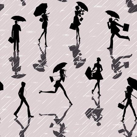 uomo sotto la pioggia: Seamless con sagome di persone con gli ombrelli in un giorno di pioggia