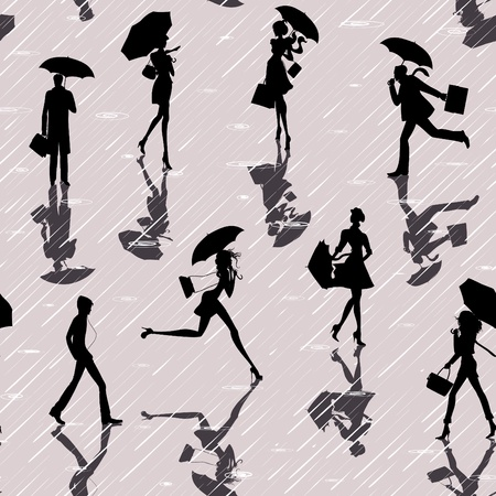 Seamless pattern with silhouettes of people with umbrellas in a rainy day Vector