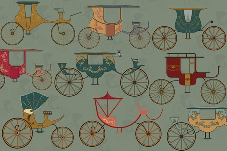 horse carriage: Background with vintage carriages Illustration
