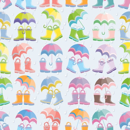rainy season: Rubber boots and umbrellas seamless pattern