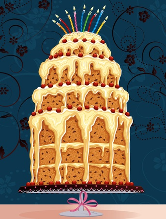 homemade cake: Vector illustration of a birthday cake with burning candles