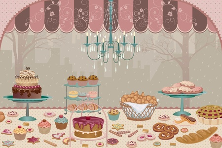 Showcase pastry shop with a variety of cakes, pies, cookies and cupcakes