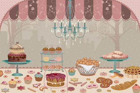 store window: Showcase patisserie met een verscheidenheid van cakes, taarten, koekjes en cakejes