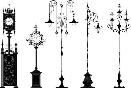 Set van antieke versierde straatverlichting en straat klokken in het zwart - de kleur is een klik van de muis, handen die je kunt instellen hoe je wilt