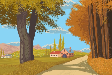 panoramic view: Autumn rural landscape Illustration