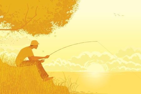 fly fisherman: Illustration of fisherman fishing at a lake in the early autumn morning