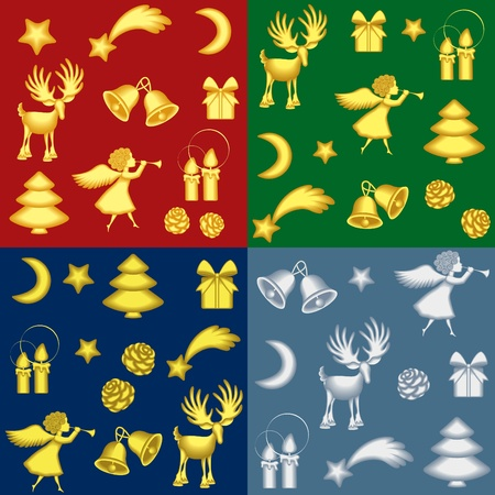 angel tree: Collection of christmas backgrounds with gold and silver symbols Illustration