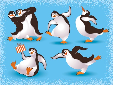 cartoon penguin: Funny dancing penguins