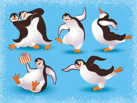pinguino caricatura: Pingüinos divertido baile