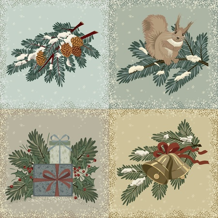 Collection of vintage christmas cards Stock Vector - 10597404