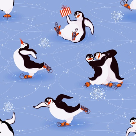 christmas penguins: Los pingüinos de patinaje seamless